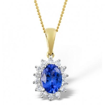 9K Gold 0.21ct Diamond & 7mm x 5mm Tanzanite Pendant, E2711